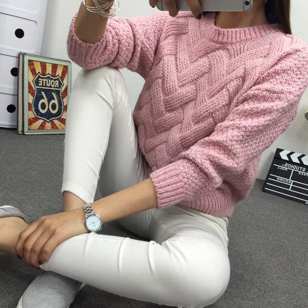 O-neck Mohair Knitted Twisted Sweater