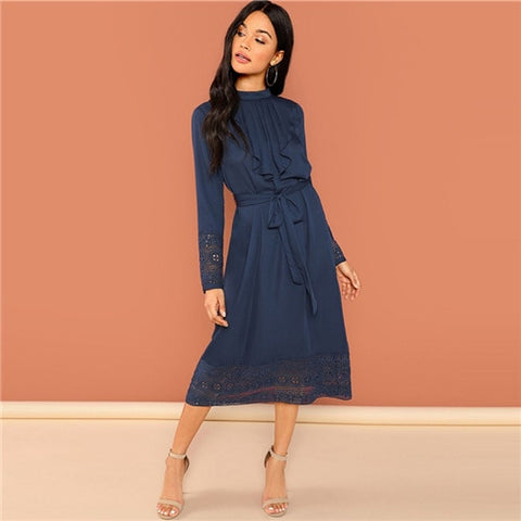 Navy Going Out Weekend Casual Pleated Ruffle Long Party Dress