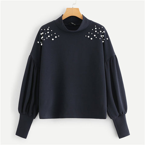 Navy Elegant Preppy Mock Neck Sweatshirts