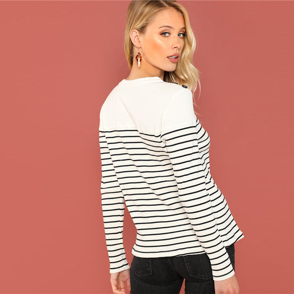 Black And White Preppy Office Lady Button Top