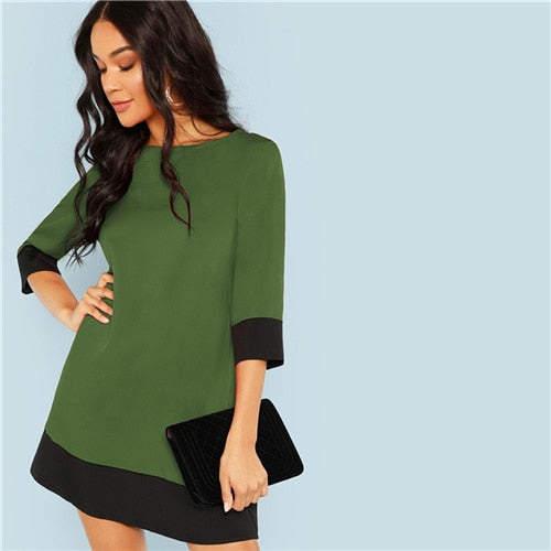 Green Going Out Contrast Colorblock Office Dress