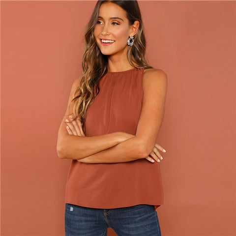 Rust Modern Lady Weekend Casual Gathered Halter Neck Top