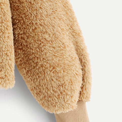 Camel Plain Faux Fur Fluffy Teddy Hoodie