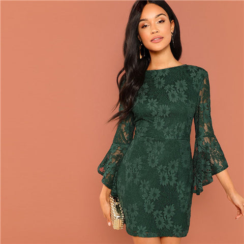 Green Going Out Round Neck Office Dress