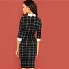 Black Office Lady Plaid Contrast Collar Office Dress