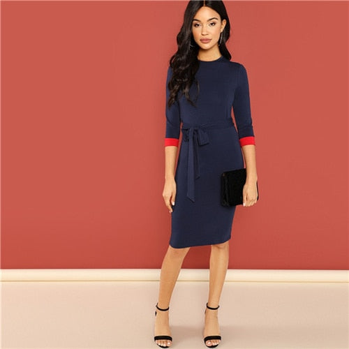 Navy Office Lady Colorblock Belted Office Dress
