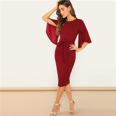 Weekend Casual Round Neck Long Office Party Dress