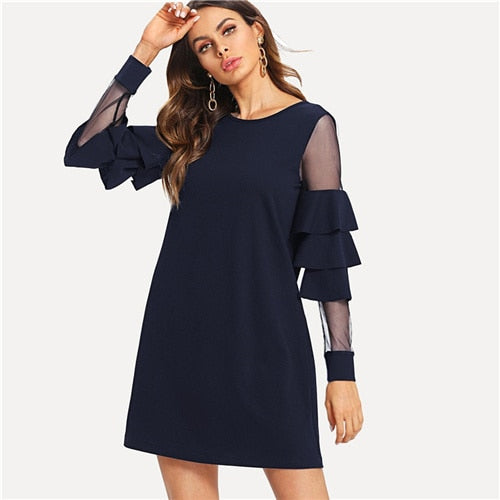 Navy Office Lady Solid Ruffle Mesh Insert Dress