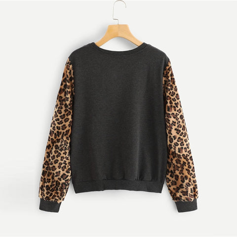 SHEIN Modern Lady Grey Highstreet Round Neck Long Sleeve Colorblock Leopard Sleeve Pullover 2018 Autumn Casual Women Sweatshirts