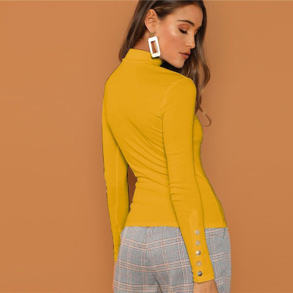 Ginger Buttoned Cuff Slim Fit High Neck Top