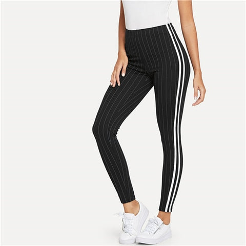 Black Contrast Tape Side Striped Skinny Sporting Leggings