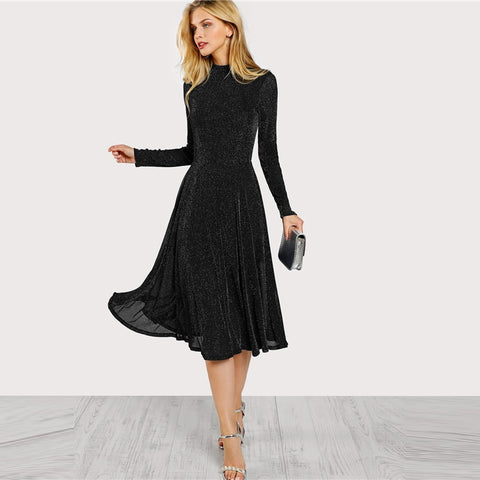 Streetwear Weekend Casual Black Mock Neck Long Office Dress