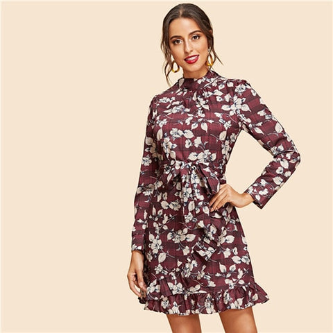 Multicolor Weekend Casual Flower Print Belted Party Dress