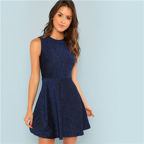 Blue Contrast Fit and Flare Sleeveless Glitter High Waist Short Office Party Dress