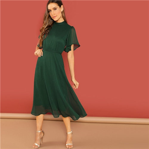 Weekend Casual Green Split Tie Long Office Dress