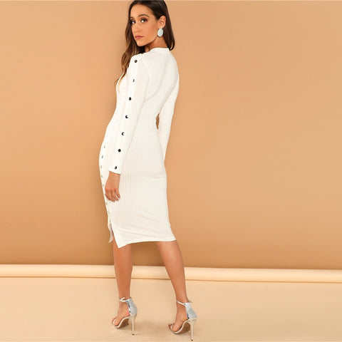 White Office Lady Solid Mock Neck Long Office Dress
