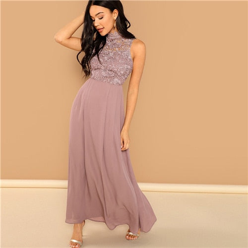 Pink Guipure Lace Overlay Bodice Long Office Dress