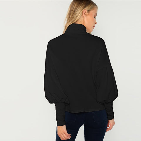 Black Office Lady Mock Neck Hoodie
