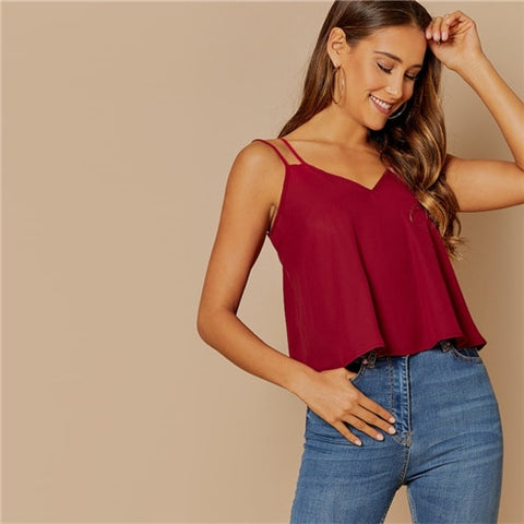 Burgundy Casual Backless Solid Double Strap Top