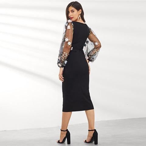 Black Applique Embroidered Mesh Sleeve Long Party Dresses