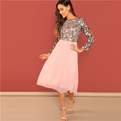 Going Out Pink Flower Embroidered Long Elegant Party Dresses