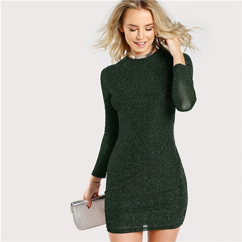 Army Green Office Lady Elegant Glitter Short Office Party Dress