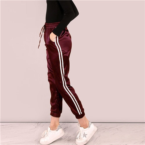 Burgundy Side Striped Satin Trainer Drawstring Waist Mid Waist Pant