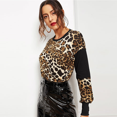 Multicolor Modern Lady Leopard Color-Block Hoodie