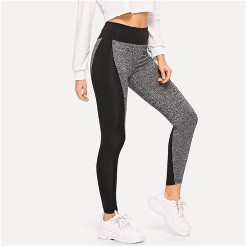 Multicolor Sporting Casual Wide Waist Color Block Leggings