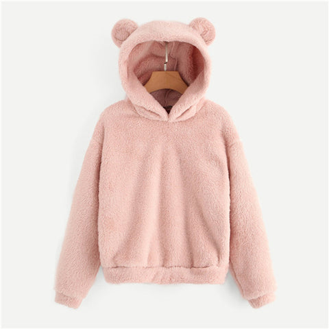 Pink Preppy Lovely With Bears Ears Solid Teddy Hoodie