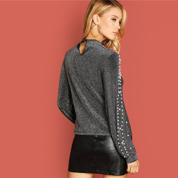 Going Out Silver Modern Lady Pearl Beading Hoodie
