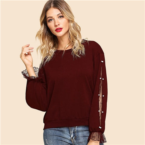 Burgundy Pearls Beaded Lace Contrast Pullover Hoodie