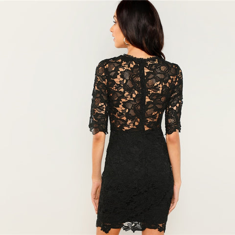 Black Sheer Overlay Slim Party Lace Dress