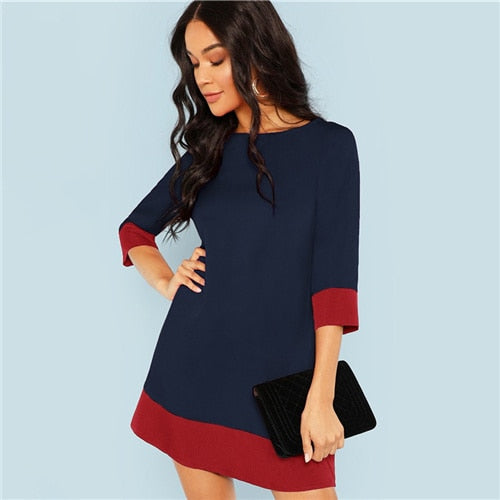 Navy Elegant Office Lady Colorblock Contrast Office Dress