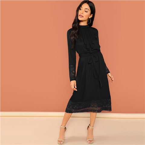 Black Elegant Pleated Lace Stand Collar Office Dress