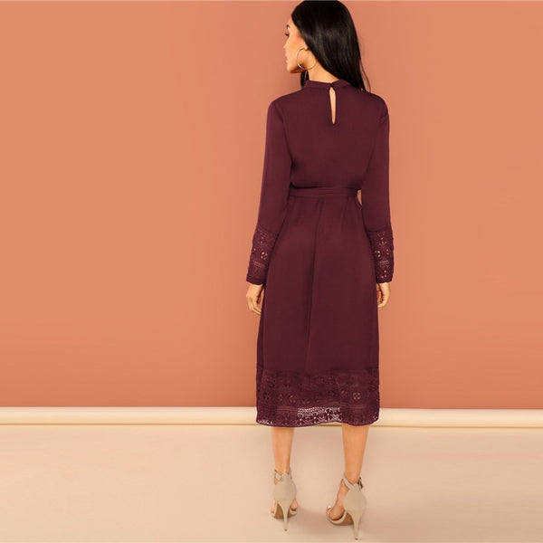 Burgundy Elegant Solid Belted Pleated Long Office Dress