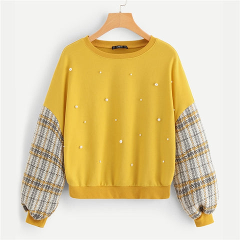 Yellow Preppy Casual Beaded Pearl Embellished Drop Shoulder Hoodie