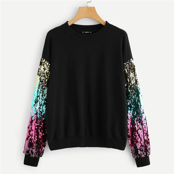 Black Highstreet Sequin contrast Colorblock O-Neck Hoodie