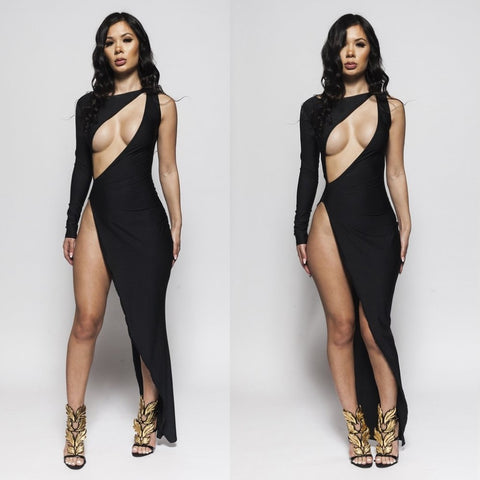 Elegant One Shoulder Long Sleeve Night Club High Split Bandage Party Dresses
