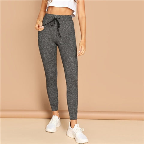 Grey Casual Solid Drawstring Waist Pocket Striped Leggings