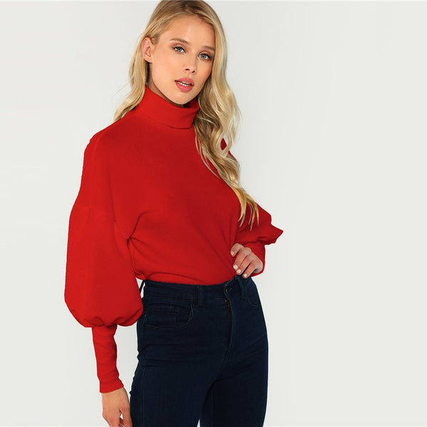Red Workwear Office Lady Mock Neck Hoodie