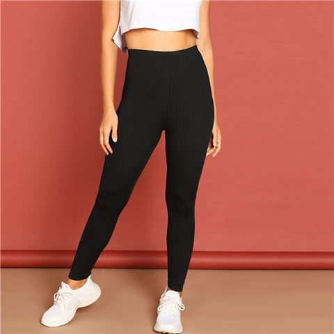 Black Streetwear Casual Rib Knit Solid Long Plain Leggings