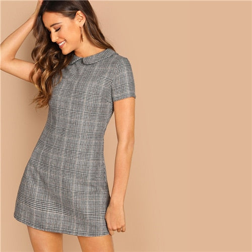 Grey Peter-Pan-Collar Plaid Short Office Dress