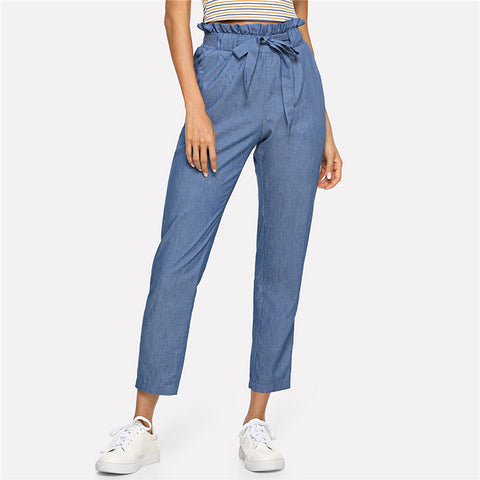 Blue Weekend Casual Belted Ruffle Mid Waist Straight Pants