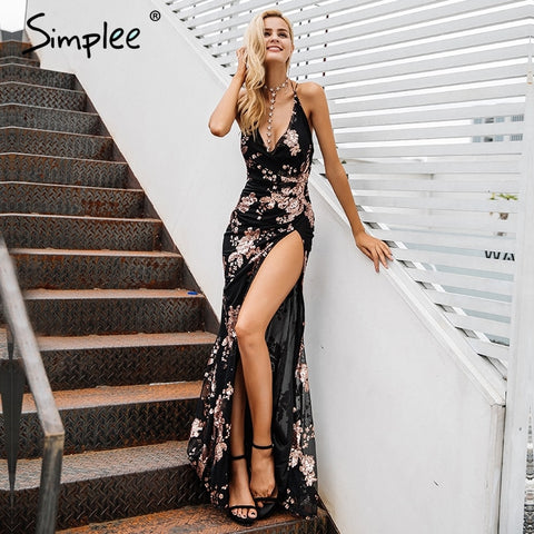 Simplee Sexy lace up halter sequin long party dress