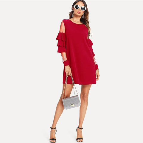 Burgundy Contrast Mesh Insert Short Office Party Dress