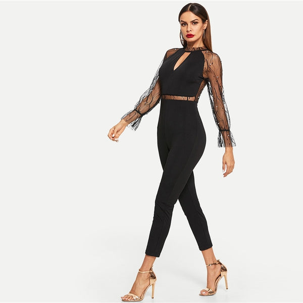 Black Pearls Beaded Mesh Contrast Solid Leggings