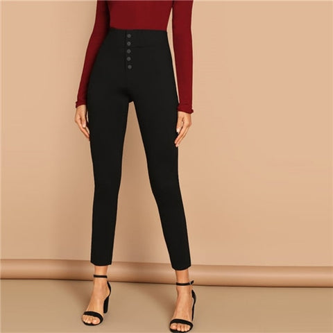 Black Buttoned Fly Skinny Plain Pants