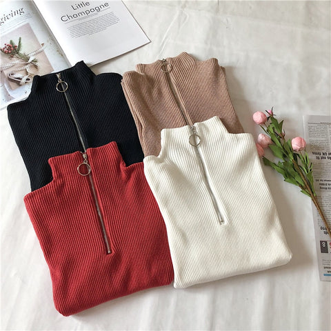 Korean Style Zipper Knitted Turtleneck Sweater