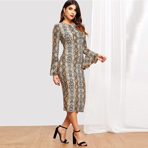 Flounce Sleeve Snake Skin Round Neck Long Office Dress
